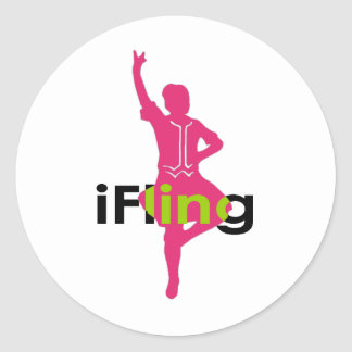 iFling Highland Dancer Classic Round Sticker