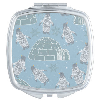 Igloos and Penguins Pattern Travel Mirrors