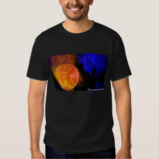 Ignited Apple Neon Blue Background Tee Shirt