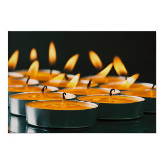 Ignited candles basic yellow poster