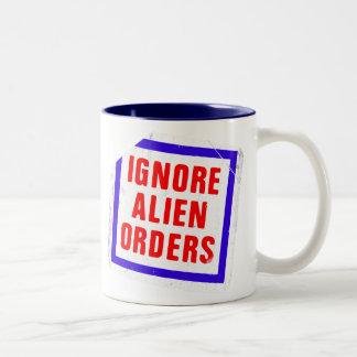 Ignore Alien Orders. Joe Strummer's phrase sticker Two-Tone Coffee Mug