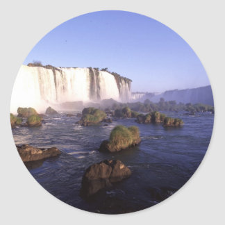 Iguacu Water Falls Brazil Classic Round Sticker