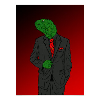Iguana In a Business Suit Poster