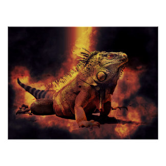 Iguana Lizard in Burning Fires of Hell Poster