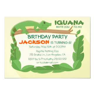 Iguana Lizard Reptile Birthday Invitation