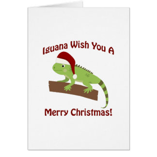 Iguana Wish you a Merry Christmas Card