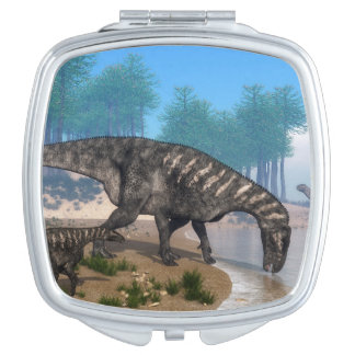 Iguanodon dinosaurs herd at the shoreline - 3D ren Vanity Mirrors