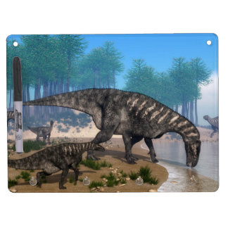 Iguanodon dinosaurs herd at the shoreline dry erase board with key ring holder