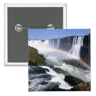Iguassu Falls, Parana State, Brazil. Aerial view 15 Cm Square Badge