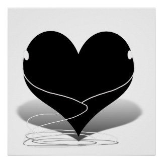 iHeart Silhouette (with Ear Buds) Poster