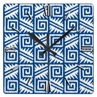 Ikat Aztec Pattern - Cobalt Blue and White Clocks