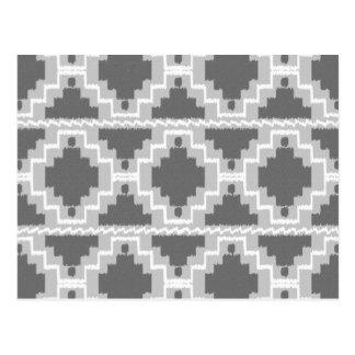Ikat Aztec Pattern - Dark and light Grey / Gray Postcard