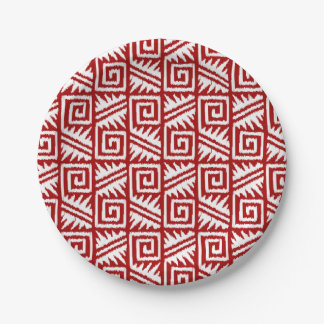 Ikat Aztec Pattern - Dark Red and White 7 Inch Paper Plate