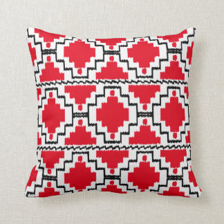 Ikat Aztec Pattern - Red, Black and White Throw Pillow