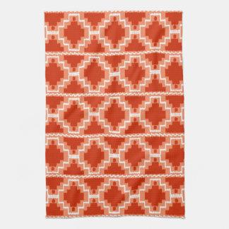 Ikat Aztec Pattern - Rust, Orange and white Kitchen Towels