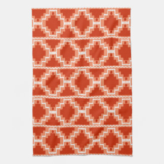 Ikat Aztec Pattern - Rust, Orange and white Tea Towel