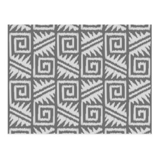 Ikat Aztec Pattern - Shades of Grey / Gray Postcard