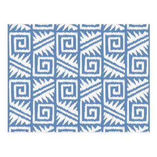 Ikat Aztec Pattern - Sky Blue and White Postcard