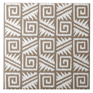 Ikat Aztec Pattern - Taupe Tan and Cream Ceramic Tile