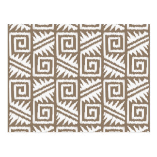 Ikat Aztec Pattern - Taupe Tan and Cream Postcard