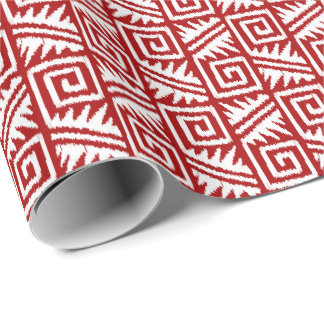 Ikat Aztec Tribal - Dark Red and White Wrapping Paper