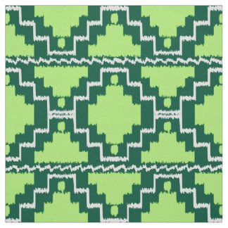 Ikat Aztec Tribal - Forest and Lime Green Fabric