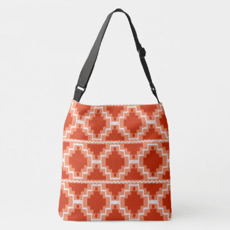 Ikat Aztec Tribal - Rust, Orange and white Crossbody Bag