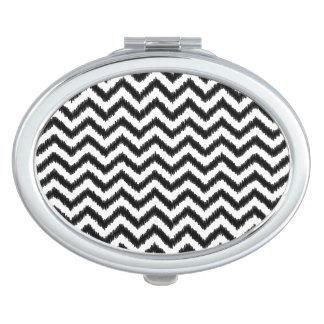 Ikat Chevron Black Pattern Zigzag Compact Mirrors