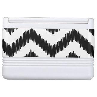 Ikat Chevron Black Pattern Zigzag Cooler