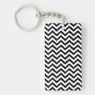 Ikat Chevron Black Pattern Zigzag Key Ring