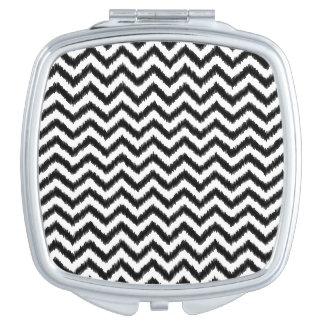 Ikat Chevron Black Pattern Zigzag Mirror For Makeup