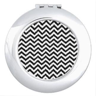 Ikat Chevron Black Pattern Zigzag Mirrors For Makeup