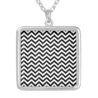 Ikat Chevron Black Pattern Zigzag Silver Plated Necklace