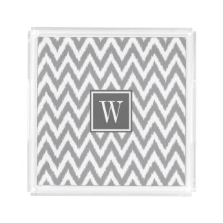 Ikat Chevron Gray Monogram Acrylic Tray