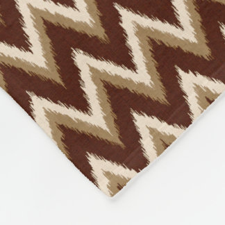 Ikat Chevron Stripes - Chocolate Brown & Beige Fleece Blanket