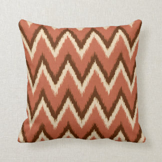 Ikat Chevron Stripes - Rust, Brown and Beige Cushion