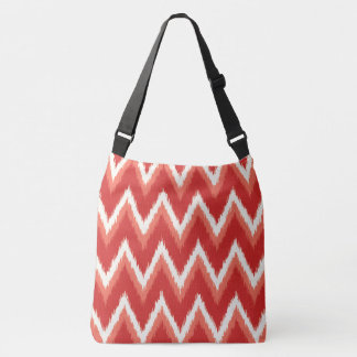 Ikat Chevron Stripes - Rust Orange and White Crossbody Bag