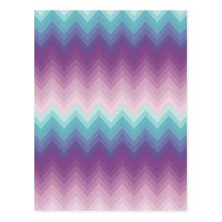 Ikat,chevron,tribal,zig zag,purple,pink,teal,girly postcard
