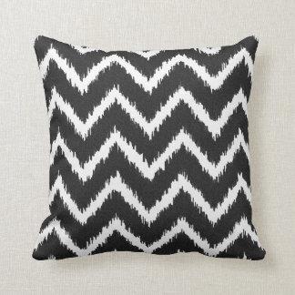 Ikat Chevrons - Black and white Throw Pillow