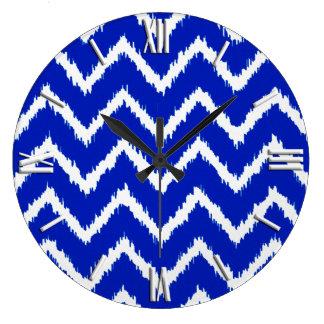 Ikat Chevrons - Cobalt blue and white Wall Clock
