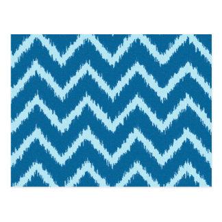 Ikat Chevrons - Indigo and Pale Blue Post Card