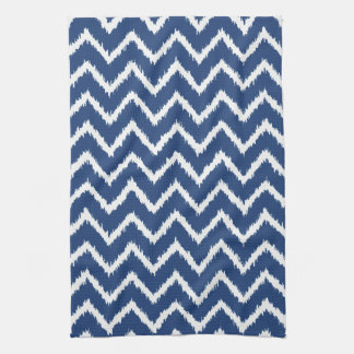 Ikat Chevrons - Navy blue and white Tea Towel