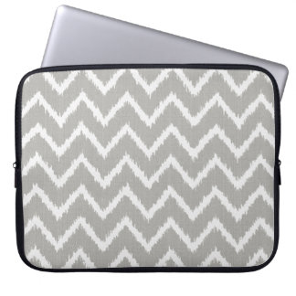 Ikat Chevrons - Silver grey and white Laptop Sleeve
