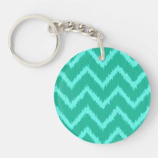 Ikat Chevrons - Turquoise and aqua Key Ring
