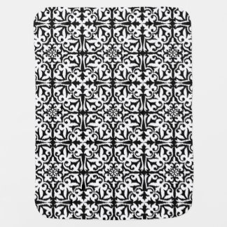 Ikat damask pattern - Black and White Baby Blanket