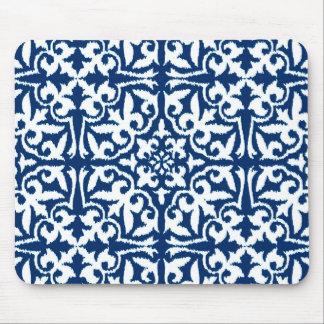 Ikat damask pattern - Cobalt Blue and White Mouse Pad