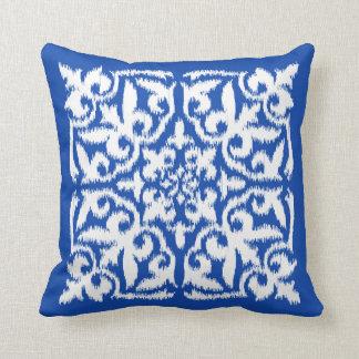 Ikat damask pattern - cobalt blue and white throw pillow