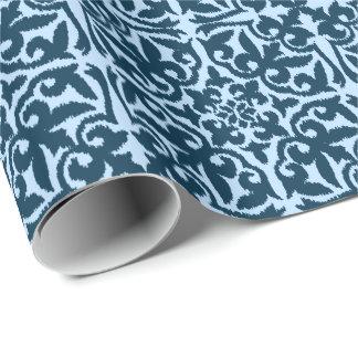 Ikat damask pattern - Dark Indigo and Light Blue Wrapping Paper