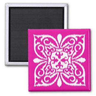 Ikat damask pattern - deep pink and white refrigerator magnet