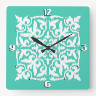 Ikat damask pattern - peacock blue and white square wall clock